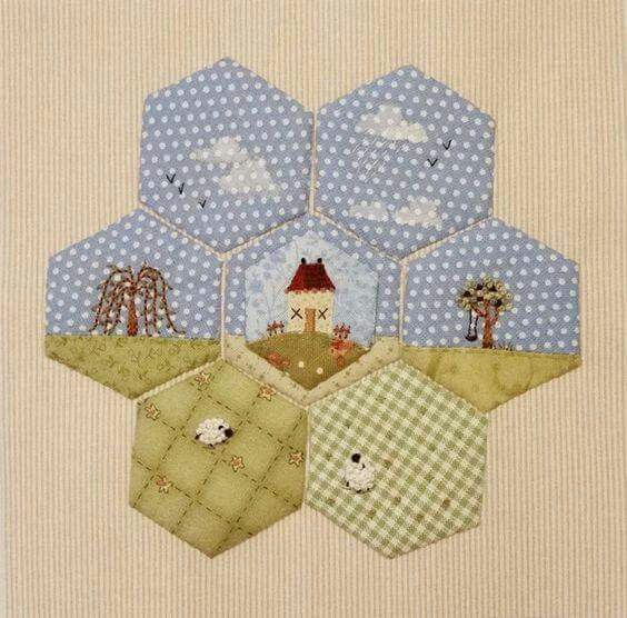 Embroidery and Hexagons for Quilting!