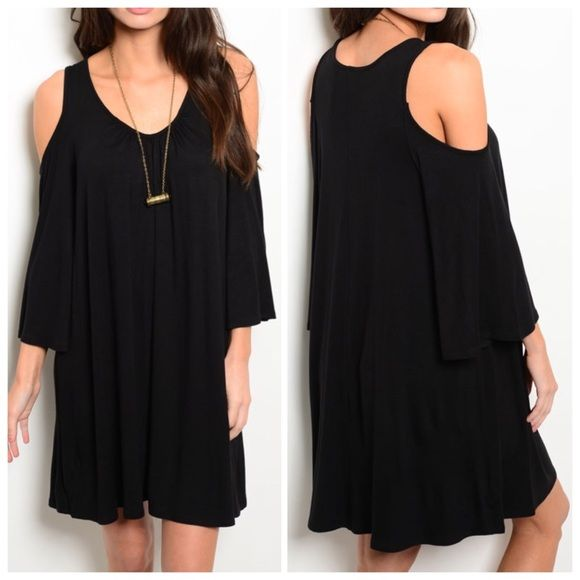 "BLACK KNIT JERSEY DRESS  ON TREND! Flowy jersey knit dress features exposed shoulders, long sleeves and scooped neckline. 65% rayon 35% viscose. Small measures L35"" B19"" W20"" S - 0 M - 1 L - 0 Please comment size needed below.  PLEASE DO NOT BUY THIS LISTING. Allow me to make your separate listing for you or help you make a bundle ❤️.  NO PAYPAL NO TRADES. Price is firm unless bundled. Dresses Long Sleeve"