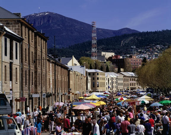 Salamanca Market in Hobart, Tasmania. Market, beer on the lawns, outdoor bars, coffee, cafés