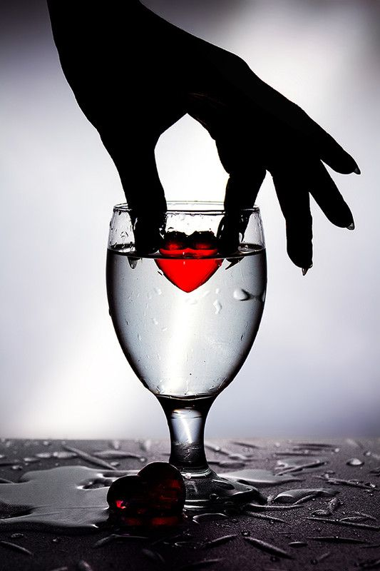 cold red heart --black & white with a pop of color ..**