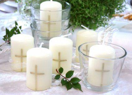 Set 6 bougies 6xverre votif croix or communion bapt me - Set de table pour table en verre ...