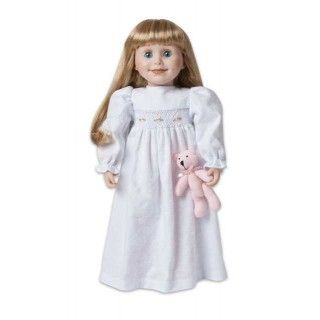Nightie Night: It's bedtime and Brianne is ready for a cozy sleep in her warm flannel nightie with embroidered smocking. As she snuggles down for a night of sweet dreams with her lovable pink teddy bear, she imagines herself back in pioneer times.