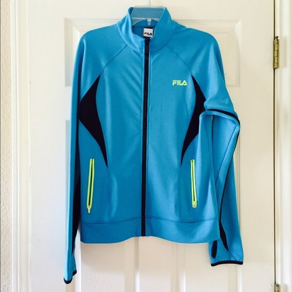 FILA Jacket NWT Fila Sport jacket in turquoise with neon lettering/pocket trim and black venting. Great jacket but is too big for me. Fila Jackets & Coats