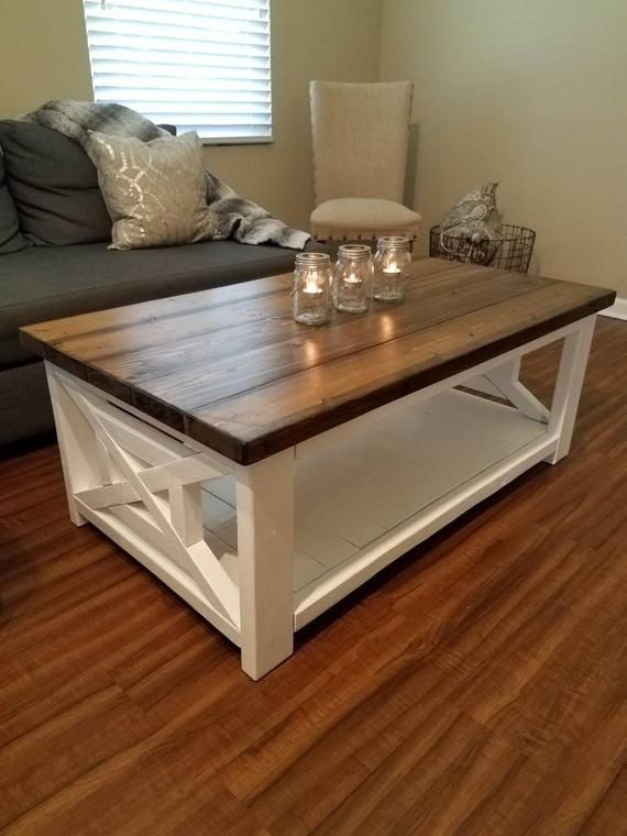Farmhouse style coffee table rustic wood