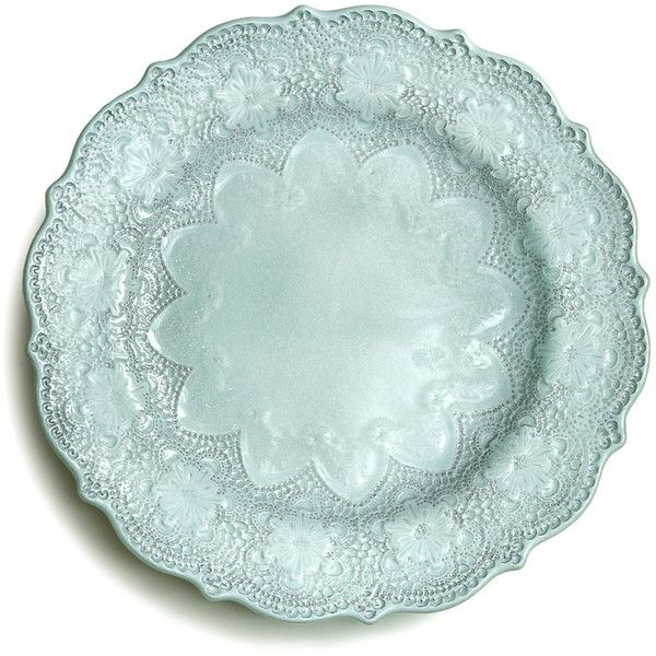 Arte Italica Marletto Aqua Dinner Plate featuring polyvore, home, kitchen & dining, dinnerware, kitchen, fillers, plates, food, colored dinnerware, round plate, ceramic dinner plates, ceramic dinnerware and aqua plates