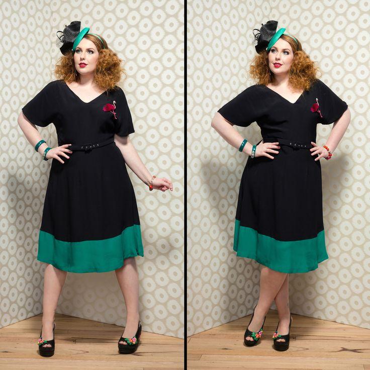 Mia Day Dress in Black and Emerald