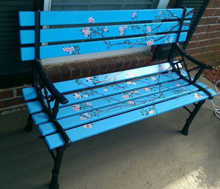 DIY painted Park Bench, painted cherry blossoms. Lowes has perfect size replacement planks.