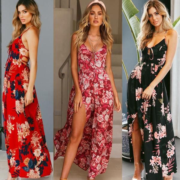 Women Summer V Neck Sleeveless Floral Print Party Evening  Boho Split Long Dress