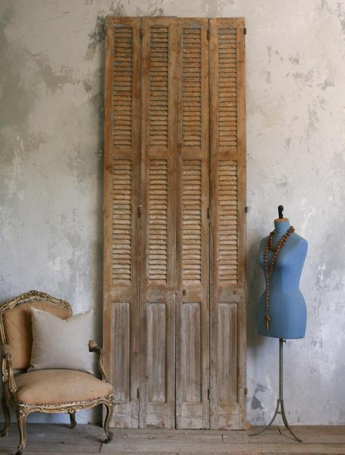 bottom panel - Vintage Shutters Lovely set of four vintage shutters in worn natural wood finish with barely-there flecks of slate grey, and solid slate grey paint on the reverse. 116H x 40W x 2D as seen on l