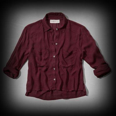 アバクロ レディース シャツ  Abercrombie&Fitch Natalie Cropped Shirt シャツ  ★アバクロ新作商品。アバクロ 銀座店で販売されていない海外限定品! ★ヴィンテージウォッシュがコーディネイトしやすくていい感じに味が出ている。