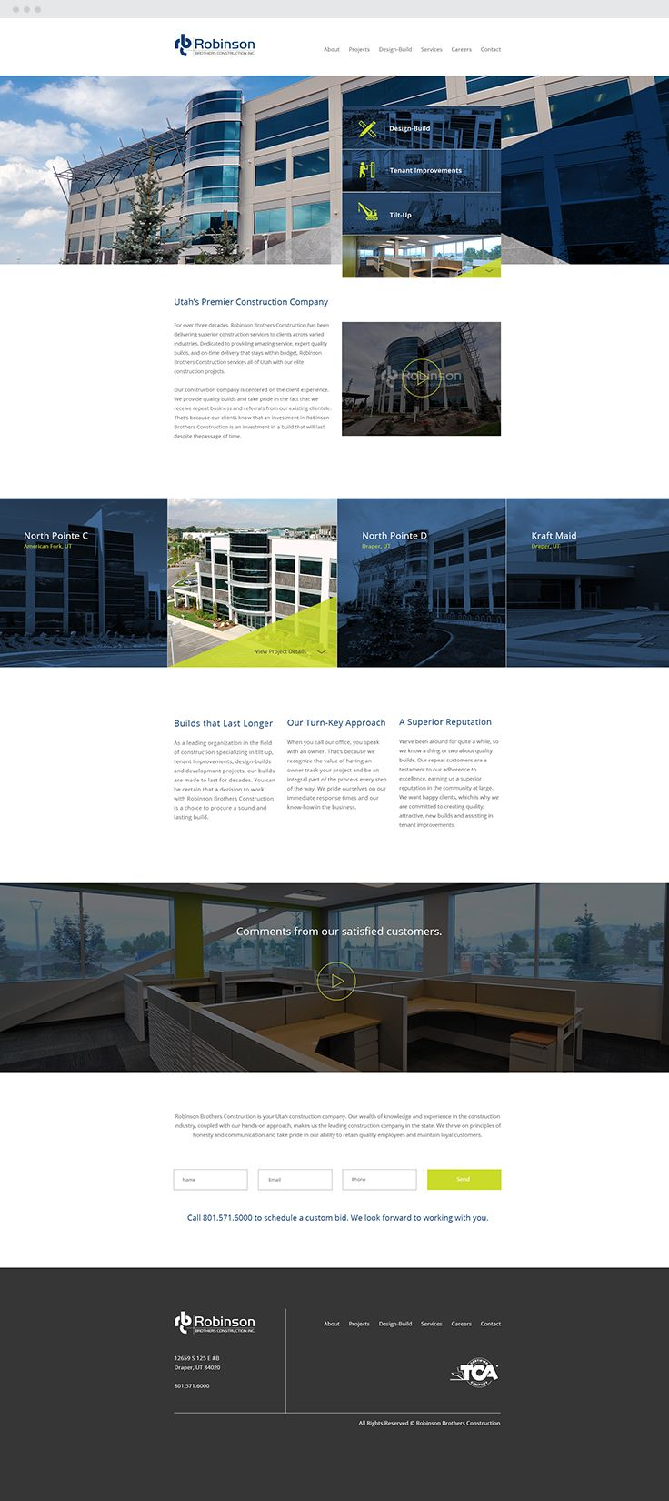 Robinson Brothers Construction Responsive Web Design #epicmarketing #marketing #webdesign #graphicdesign #construction #responsive