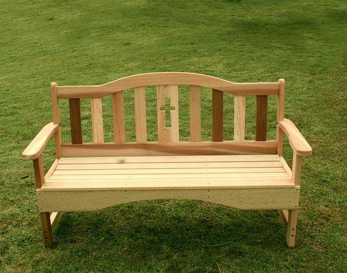6' Cedar Holy Cross Garden Bench