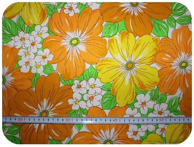 Floral retro vintage fabric  yellow orange and by MirjamTheresa, $4.00