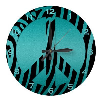 Teal Black Zebra Print Wall Clock, for my bedroom but I could just get it now I love peace signs