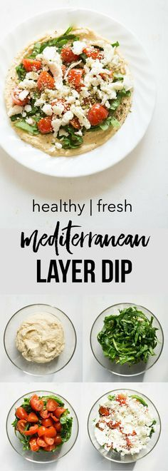 Mediterranean Layer Dip Recipe. Hummus, spinach, cucumber, tomatoes, feta, and herbs make up this healthy and fresh dip!