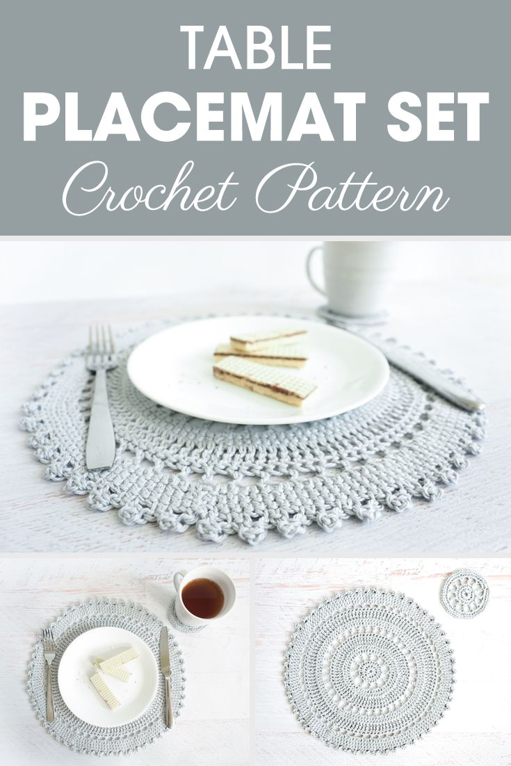 Crochet Pattern Table Placemat Set The Table Placement Set Includes An Intricate Crocheted Pl Crochet Placemat Patterns Crochet Placemats Placemats Patterns