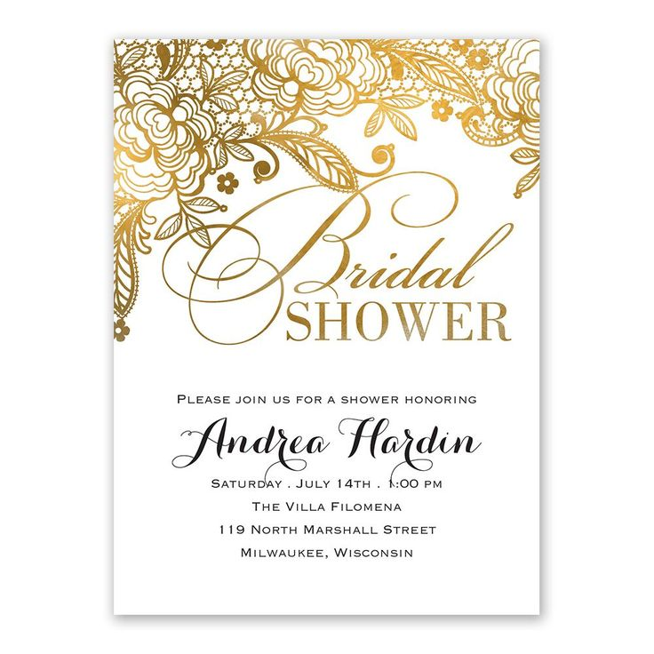 Cheap Online Wedding Invitations: Gold Lace - Bridal Shower Invitation In 2019