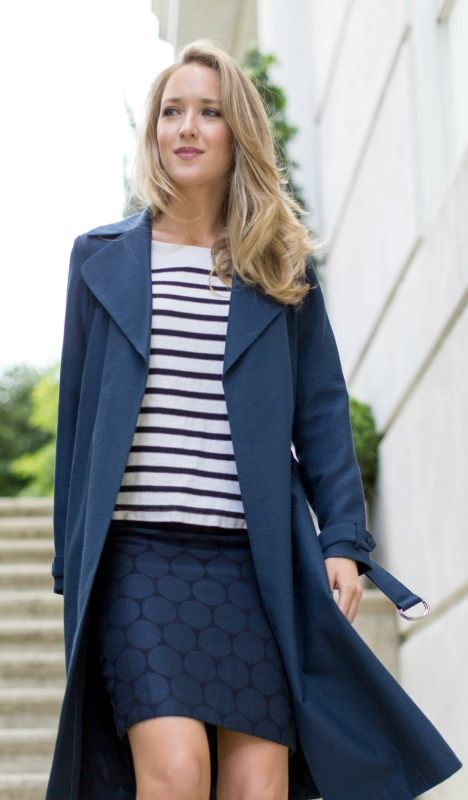 navy long trench coat, navy and black jacquard polka dot pencil skirt, black and white striped boatneck top + black suede block heel pumps with pointed toe