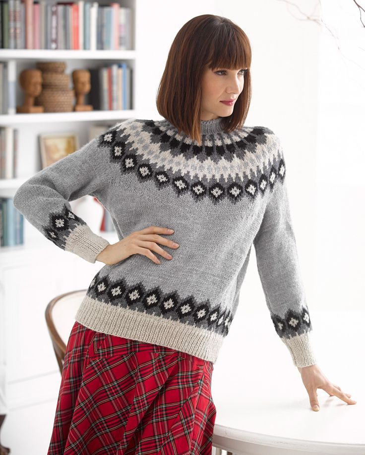Knit this beautiful fair-isle pullover with Wool-Ease, one of our featured yarns this month! Save 20% for a limited time. Free knit pattern calls for 10-13 balls of yarn in 4 colors (grey heather, natural heather, oxford grey, and black pictured) and size 5, 7, and 8 knitting needles.