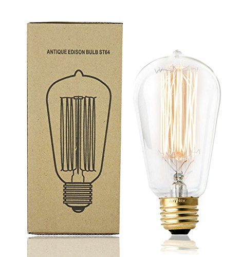 Antique Edison Bulb ST64 E26 60W Squirrel Cage Filament Incandescent Clear Glass Dimmable light Bulb 1 Pack