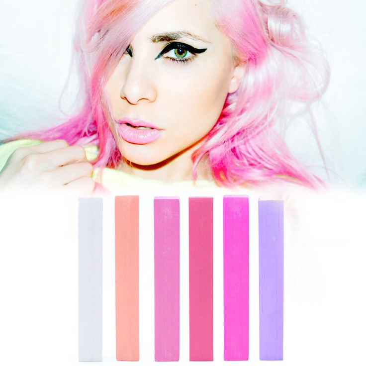 PASTEL+PINK+BUBBLEGUM+Pink+and+Purple+Hair+Chalk+Set+of+6