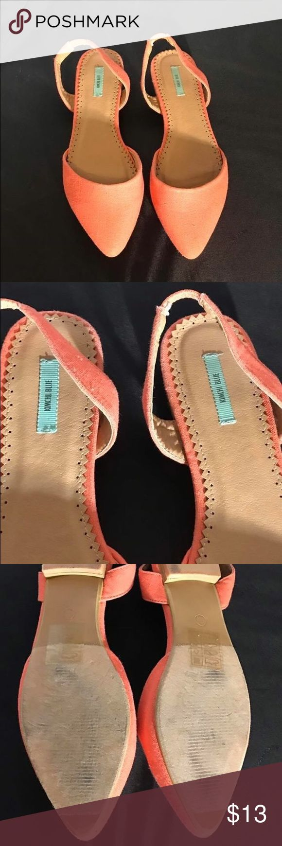 Pink coral Flats pointed canvas Canvas material pink coral color. Pointed toe, super cute for summer, size 7. Kimichi Blue brand Kimchi Blue Shoes Flats & Loafers