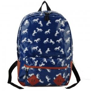 Plecak w konie niebieski