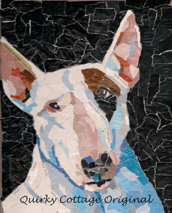 White Bull Terrier Pet Portrait by quirkycottage on Etsy, $75.00