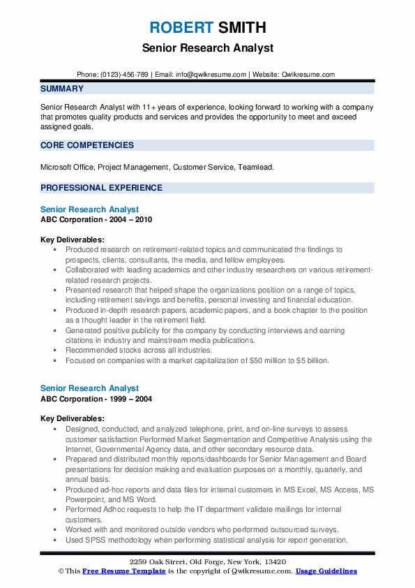 Senior Research Analyst Resume Samples Analyst Resume Sample Resume Templates