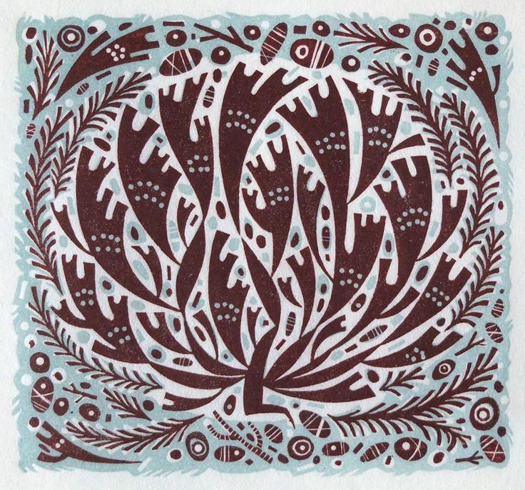 Angie Lewin 'Seaweed Shore' wood engraving