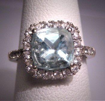 Vintage Aquamarine Wedding Ring W Sapphire by AawsombleiJewelry, $1250.00
