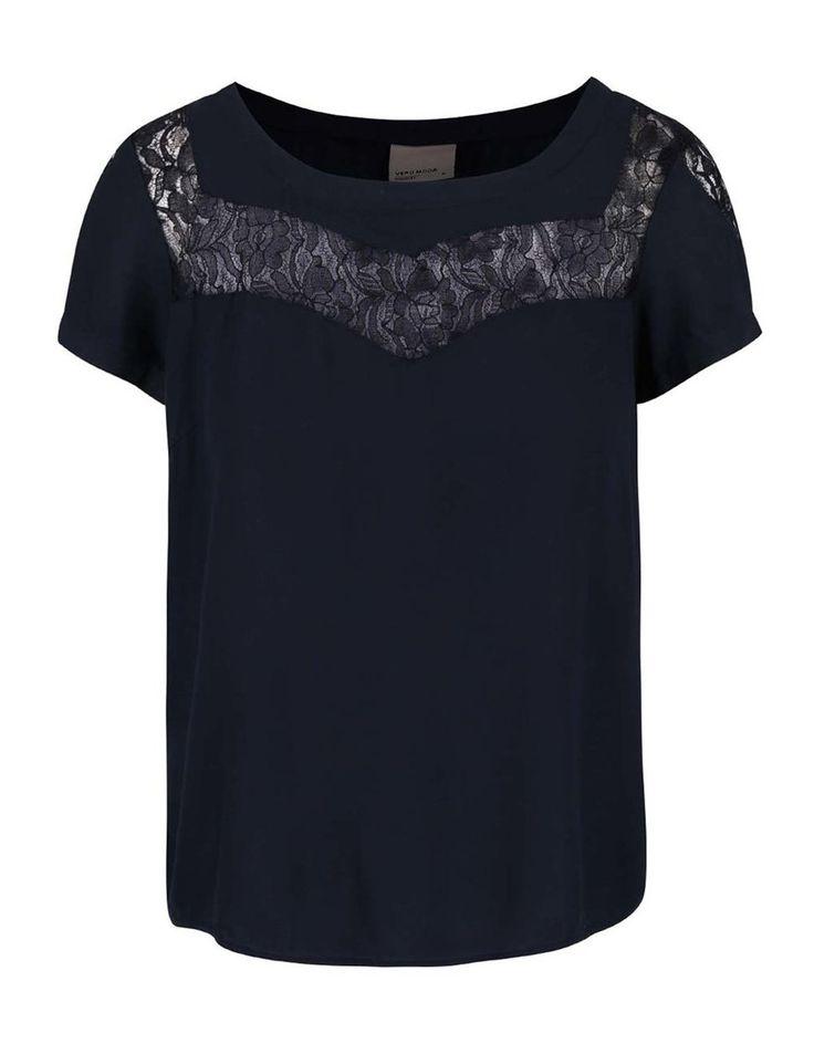 Tmavě modrá halenka s krajkovanými detaily Vero Moda Sunny