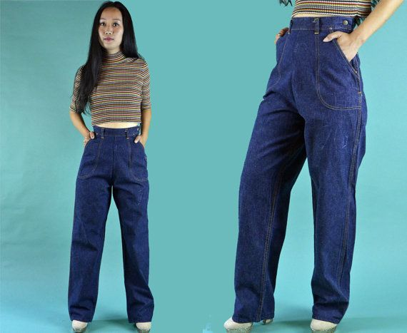 Vintage 50s Jeans / High Waist Jeans Womens by rockstreetvintage