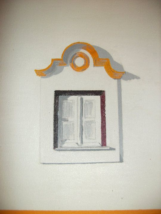 Portuguese window  oil on canvas painting