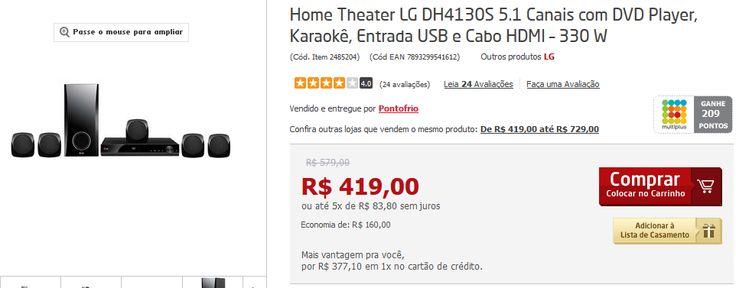 Home Theater LG DH4130S 5.1 Canais com DVD Player Karaokê Entrada USB e Cabo HDMI 330 W << R$ 35710 >>