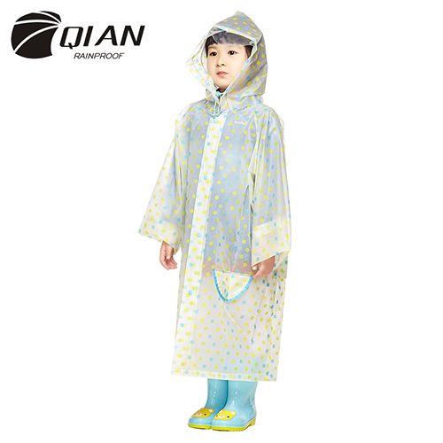 ЦЯНЬ НЕПРОМОКАЕМЫЕ Непроницаемый Плащ Детей Пластиковый Прозрачный ЕВА Пальто…
