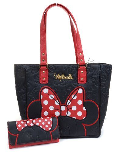 Minnie Mouse Polka Dot Black Embossed Face Tote Bag & Tri-fold Wallet SET Loungefly Disney - http://handbagscouture.net/brands/disney/minnie-mouse-polka-dot-black-embossed-face-tote-bag-tri-fold-wallet-set-loungefly-disney/