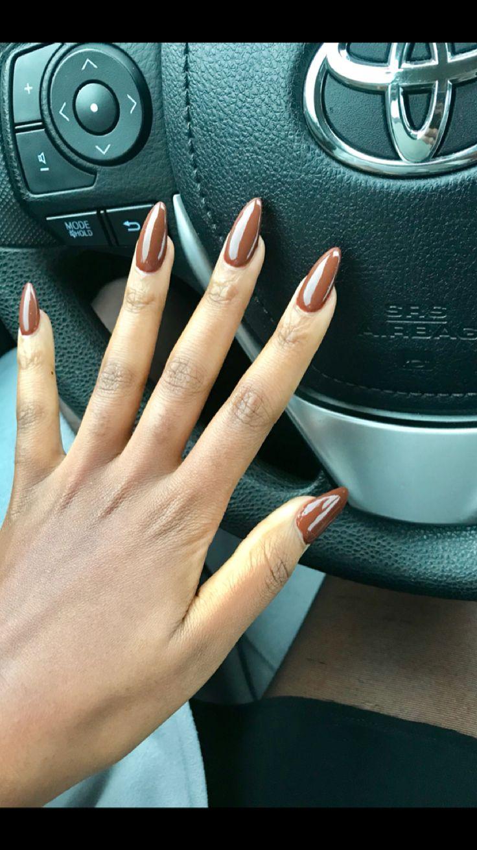Almond shape brown nail polish