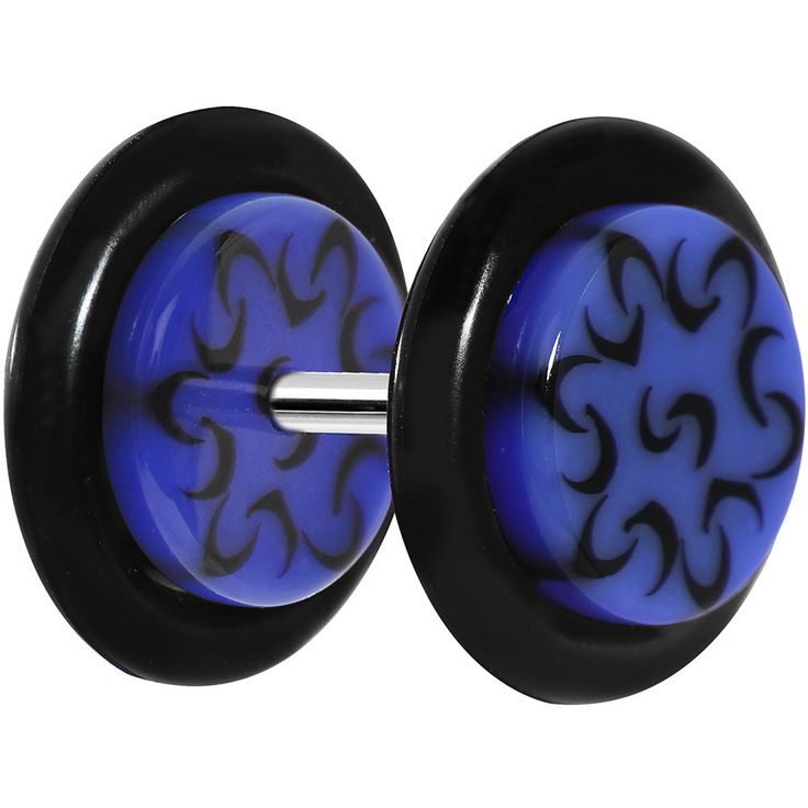 Blue and Black Trippy Tribal Cheater Plug