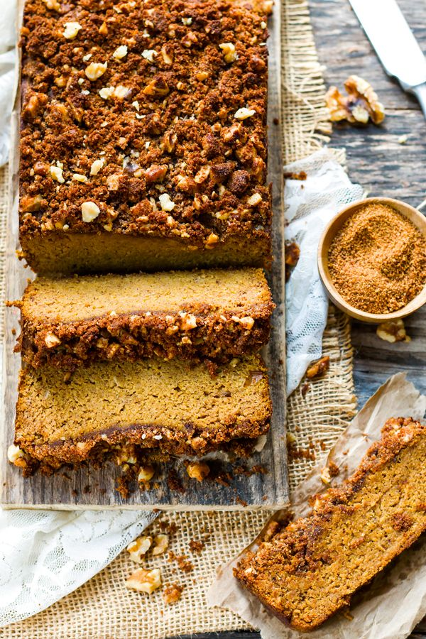 A coconut flour pumpkin bread recipe that is refined sugar free, gluten free, dairy free, grain free and paleo. Nutrition information is included, too!