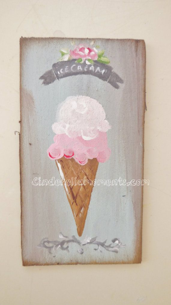 Dollhouse Ice Cream Painting Shabby Chic Rose by cinderellamoments,sold
