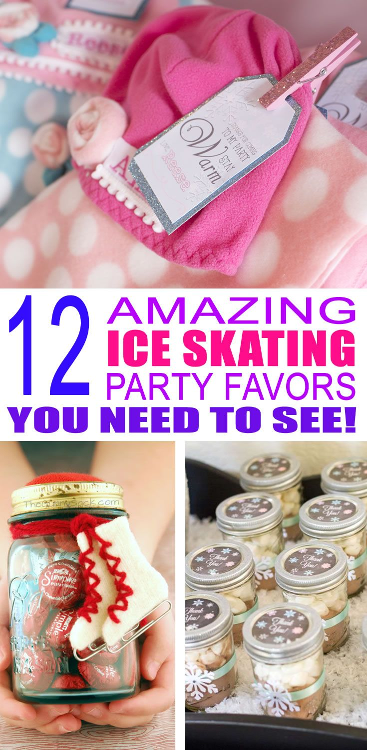 Cute, fun, and simple ice skating birthday party favor ideas for children attending ice skating birthday parties.