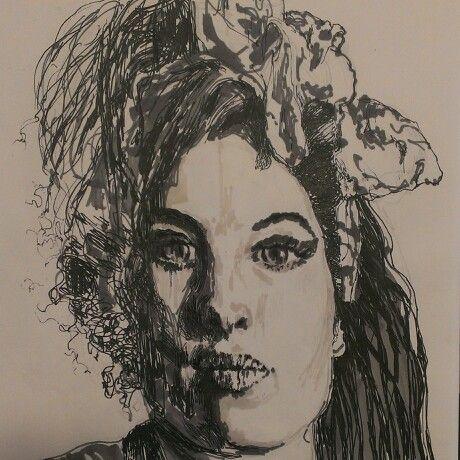 Amy Winehouse,pen drawing.
