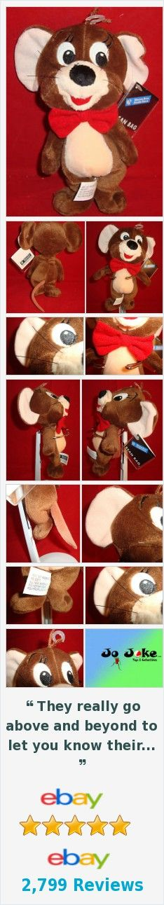 """WARNER BROS STORE-JERRY(TOM&)MOUSE BEAN PLUSH-8""""-NEW/TAGS-WHISKERS-BOW TIE-1999-"""