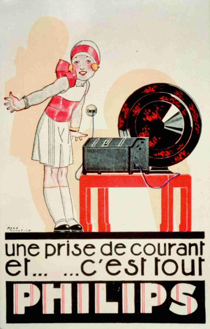Philips Radio French poster advert | #retro #vintage
