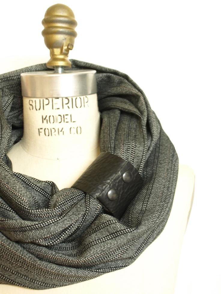 Chunky Black and Gray stripes circular infinity scarf. $40.00, via Etsy.