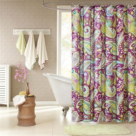 Melissa's large purple and white paisley print with green accents enhances the dimension and character of your bathroom. The yellow on the reverse side adds more color and vibrancy to this shower curtain. Made from polyester this shower curtain is machine washable for easy care.