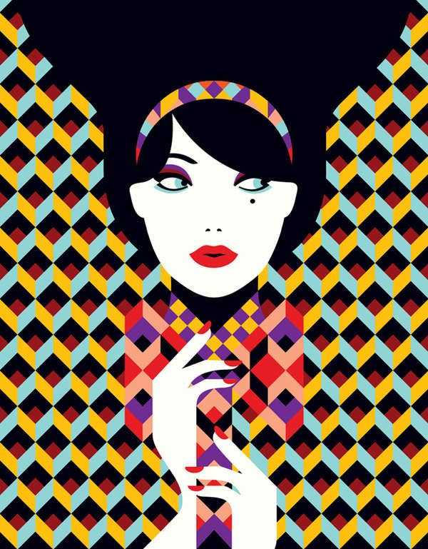 Minimalist Retro Illustrations - French Illustrator Malika Favre Has a Bold and Distinctive Style - @TrendHunter.com.com
