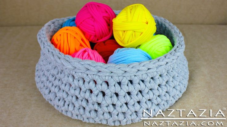DIY Learn How to Make T-Shirt Yarn & Crochet a Basket ~ includes tutorial with 2 methods of making t-shirt yarn