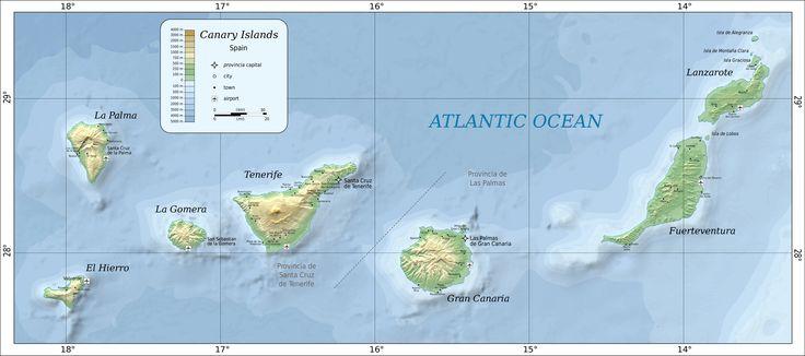 Las islas Canarias son archipiélagos ubicado cien kilómetro oeste de Morocco. Las Islas se llaman Tenerife, Fuerteventura, Gran Canaria, Lanzarote, La Palma, La Gomera y El Hierro.